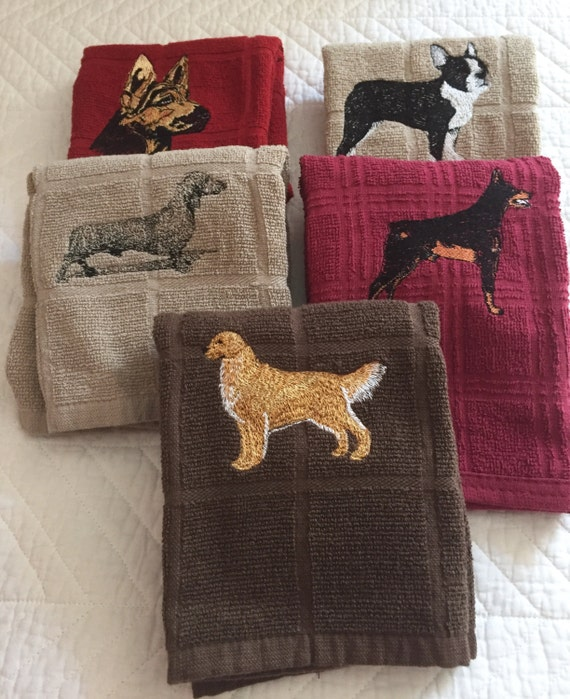 Kitchen Towels with Embroidered Dog Designs / Set of 5