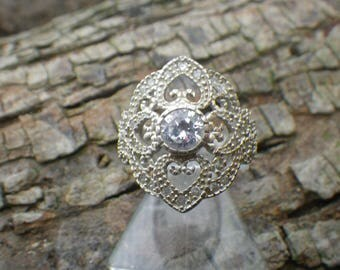 Beautiful Sterling Silver Large White Rhinestone CZ Statement Ring