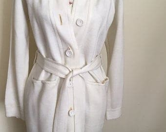 Vintage Belted Sweater * Lilly of California * Button Down * Duster * 1970's * White * Size Medium