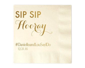 Personalized Wedding Napkins Personalized Napkins Bridal Shower Wedding Napkins Custom Monogram Sip Sip Hooray Napkins