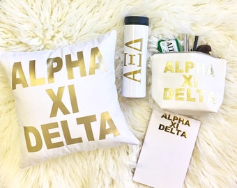 Alpha Xi Delta Pillow Tumbler Cosmetic Bag Notepad Water Bottle | gift | bid day | rush | gold | big sis | lil sis | sorority