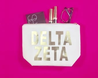 Delta Zeta Cosmetic Bag | Tri Sigma gift | bid day | rush | gold | big sis | lil sis | sorority