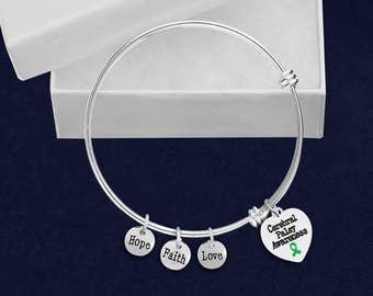 Cerebral Palsy Heart Retractable Charm Bracelet (1 Bracelet - Retail) (RE-BR-HRT-13CP)