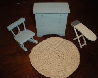 Vtg. Miniature Wooden Dollhouse Furniture 4 pieces Dresser, Rocking Chair, Rug & Ironing Board Light Blue