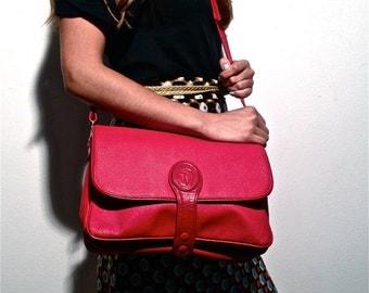 Trussardi Vintage 70s 80s Messenger Satchel Shoulder Bag Red