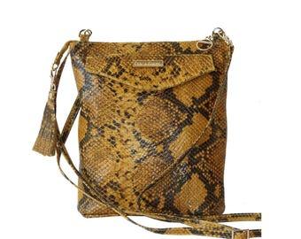 SALE! Yellow Python Leather Mini Crossbody Bag, Yellow Leather Bag, Leather Bucket Bag, Leather Shoulder Bag, Mustard Leather, Snake Leather