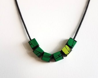 Green Modern Wood Necklace Jewelry Designed By HueWood