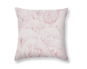 Pastel Pink Roses Throw Pillow, Botanical Print Pillow, Flower Photography, Nature, Home Decor, Baby, Pastel Pink Nursery Decor, -NO. 1610