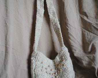 Hand Spun/Hand Crochet Bag-Cream Bead
