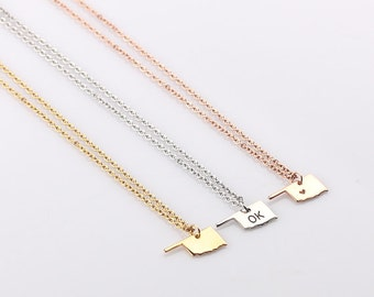 Small Gold Oklahoma Necklace, Tiny State Charm, Gold Oklahoma charm, Sterling Silver Oklahoma, State charm, Bracelet
