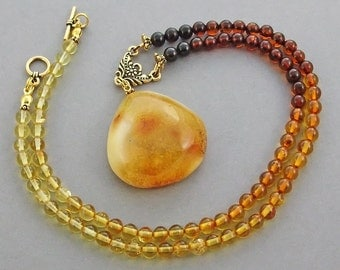 Pendant genuine Baltic amber necklace .