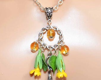 The Wild Cowslip Necklace - Handmade Pagan Jewellery Inspired by Spring Flowers, Forests, Woods, For Wiccan, Witch