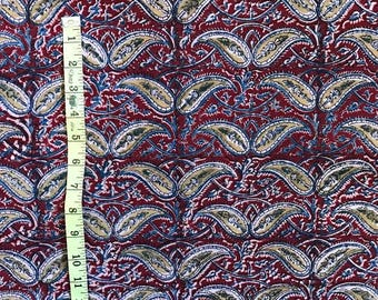 Red Paisley with Blue & Mustard Fabric
