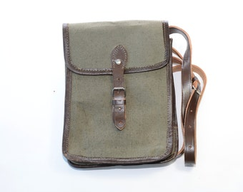 Vintage Bulgarian Army Canvas Bag,Military Green Waxed Canvas Leather Strap bag, Commander Messenger Bag,NEW UNUSED