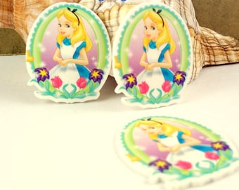 4 pcs. ALICE IN WONDERLAND Planar flatback resins Hair bow centers Flowers easter