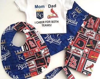 Custom House Divided Baseball (Kansas City Royals- St. Louis Cardinals)I Cheer For Both Teams and Pants or Shorts, Bib and Paci Clip 4pc Set