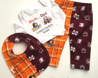 Custom House Divided Bodysuit ( TN Vols- Mississippi State Bulldogs) I Cheer For Both Teams and Pants or Shorts Bib 3pc Set