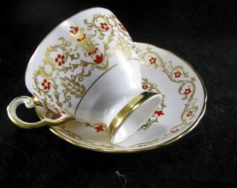 Rare Tuscan Bone China Richelieu Pattern F159 Intricate Designed Teacup & Saucer, Vintage 1947 -1960