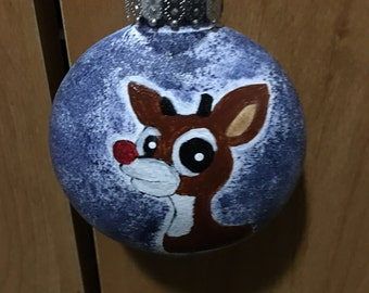 Rudolph The Red Nosed Reindeer Hand-Painted Ornament