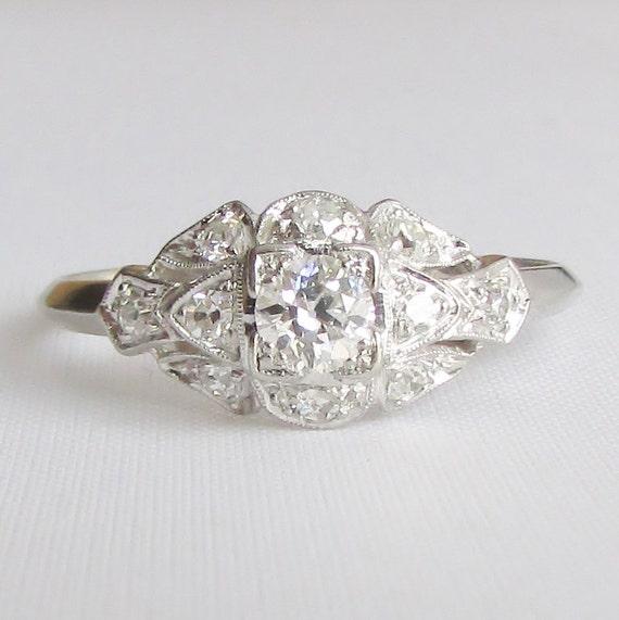 PLATINUM Art Deco Diamond Engagement Ring Or Right Hand Ring