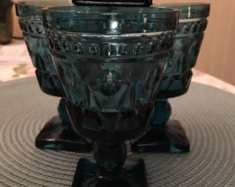 Vintage Blue Indiana Glass Colony Park Lane Colonial Wine Goblets SET of 4