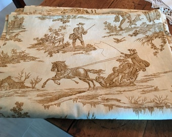 Toile table cloth; Toile pattern; 68 x 108 made in Italy; neutral palette
