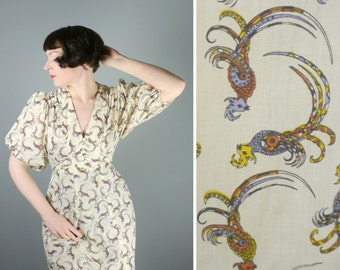 BIRD print 70s maxi dress with short BALLOON puff sleeves - vintage bohemian maxi dress - s-m
