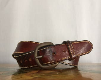 Brown Leather Belt Distressed Contrast Stitching Vintage