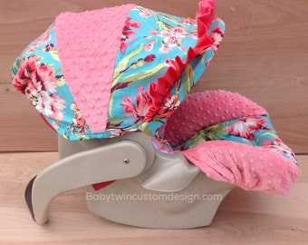 Infant Car Seat Cover- Love Bliss/ Coral