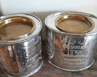Antique Silverplated set of English breakfast tea and coffee containers