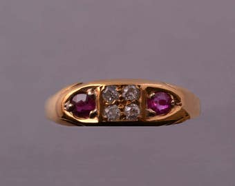 18ct Yellow Gold Edwardian Ring With Rubies And Diamonds (603j)