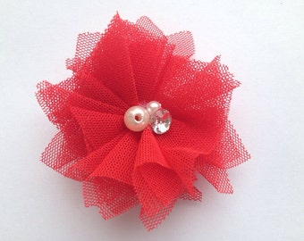 July 4 Hair Clip - July 4th Hair Clip - Fourth of July Hair Clip - Red Christmas Barrette for Girls - Holiday Hair Clip - Tulle Flower Clip