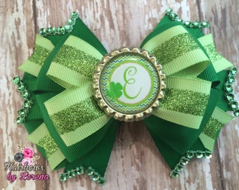 St. Patrick's Day Bow with Initial Layered Hairbow