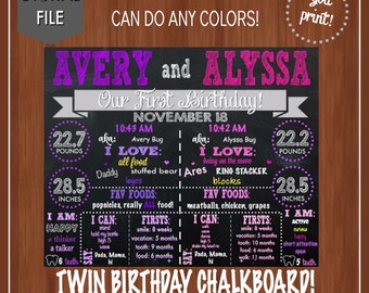 Twin Girl Birthday Chalkboard - Twins - Pink & Purple - Digital File - Twin Birthday Chalkboard - Twin Sign - Girl Birthday Poster - First