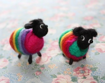 Rainbow felted sheep