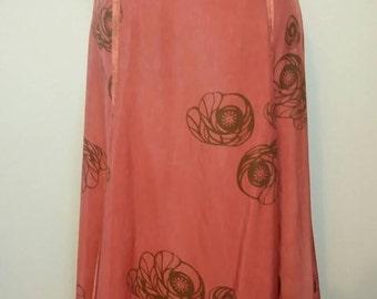Vintage Von Troska designer long gipsy boho skirt pockets floral silky 1970's
