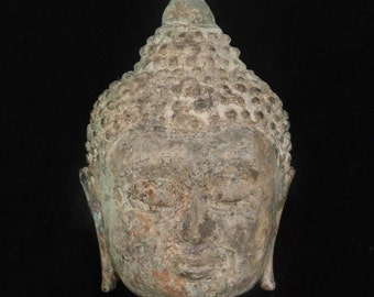 RARE Antique Thai Chiang Saen Lanna Bronze Statue BUDDHA Head 16-18th Century AD