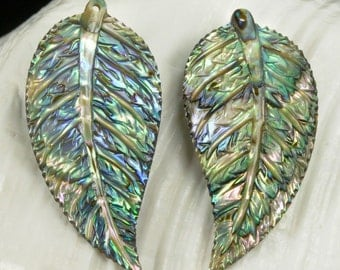 Multicolor PAUA ABALONE SHELL Iridescent Tropical Leaf Earring Pair 3.44 g