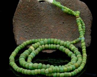 Rare ANCIENT Green Indo-Pacific Trade Glass Bead Strand 13.05 g 100 BC – 500 AD