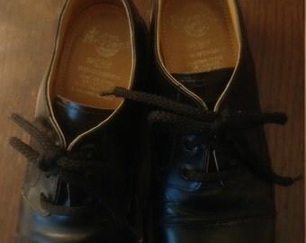 Vintage black leather Doc Martens loafer Size 4, made in England