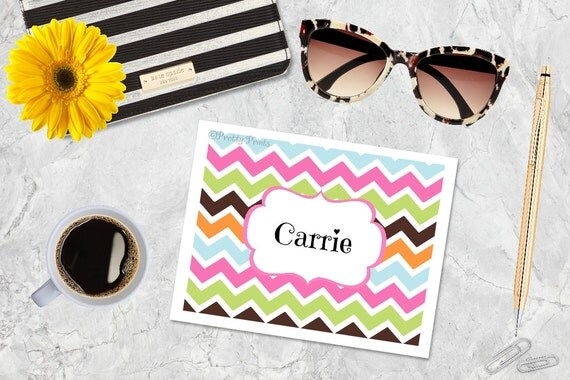 Chevron Note Cards - Multi Chevron Note Cards - Personalized Note Cards - Personalized Stationery - Notecards - Thank You Notes