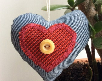 Valentine Ornament, Fabric Heart Ornament, Denim Blue and Red, Hanging Heart Decoration, Valentine's Day Decor/Gift