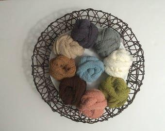 "NEW.....Stretch Knit Wrap , 13 COLORS, Wrap 15"" x 60"", Newborn Photo Prop,  Stretch Wrap, Swaddle Wrap, Nubble Wrap, Layering Fabric."