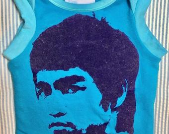 Bruce Lee Enter the Dragon tank boy girl baby muscle shirt turquoise blue Newborn OOAK