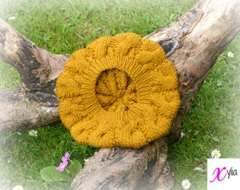 Mustard Gold Cable Knitted Beret Womens Slouchy Hat Adult Size Hand Knitted Hat Chunky Knit Hat Alpaca Wool Acrylic