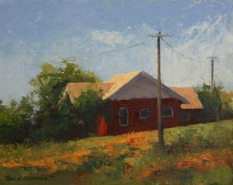 Red Craftsman house oil painting palette knife textured 8 x 10