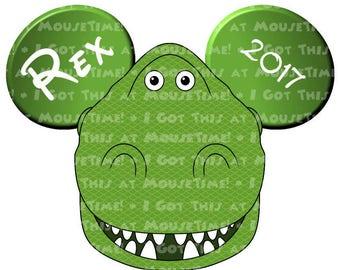 IRON-ON Rex the Dinosaur Ears! - Mouse Ears Tshirt Transfer