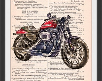2017 Red Roadster Motorcycle Altered Art Chiaroscura Style Beautifully Upcycled Vintage Dictionary Page Book Art Print