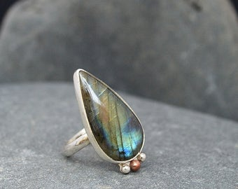 Simple Teardrop Labradorite with Copper and Sterling Silver Size 7 1/4