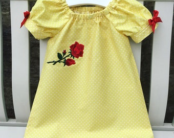 BEAUTY & THE BEAST Pretty Belle peasant dress in lemon cotton fabric with puffed cuff sleeves age 12 mths to 5/6